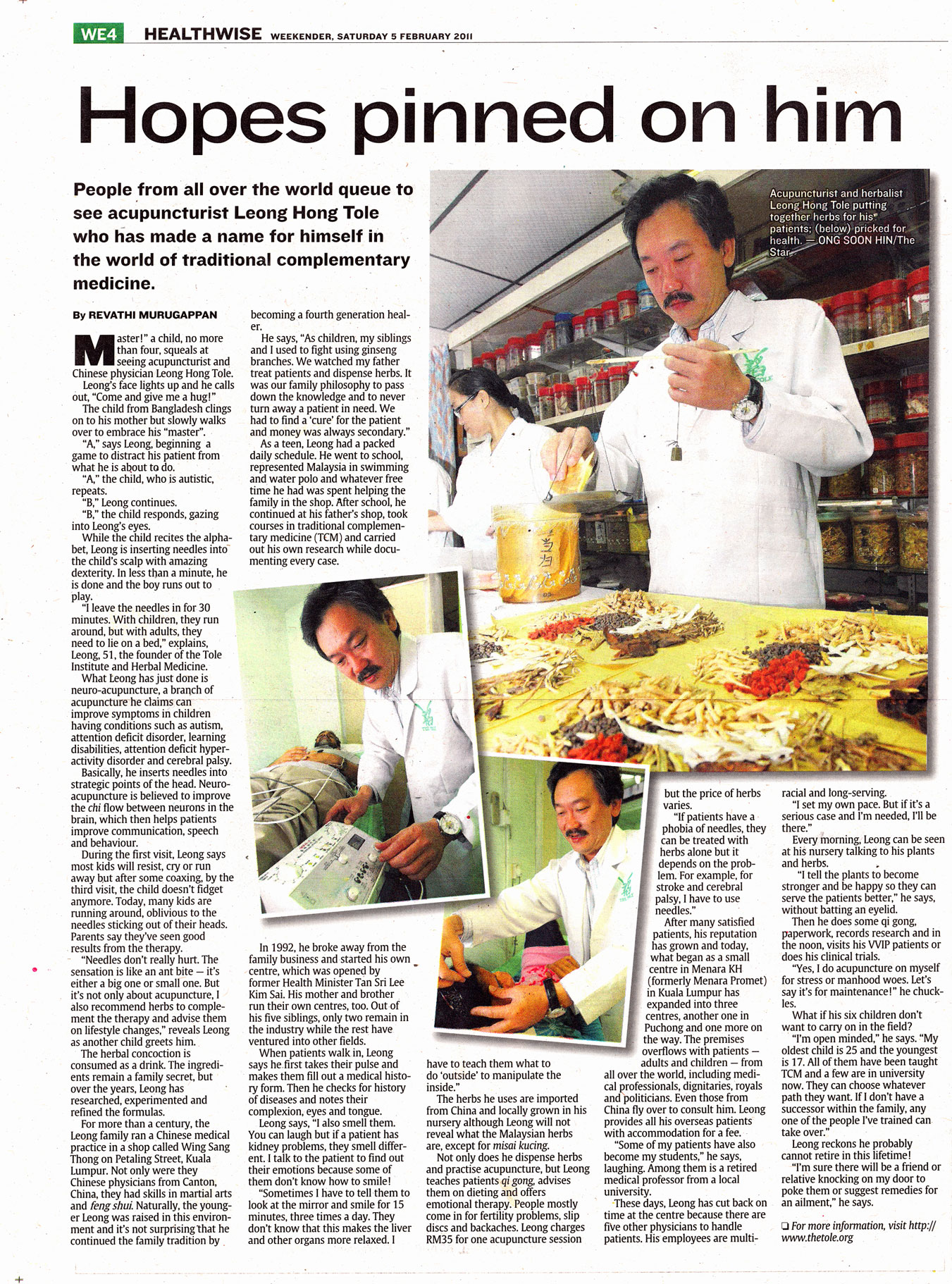 The Star Newspaper report on Our Master's  Acupuncture Treatment and Herbal Medical Treatment